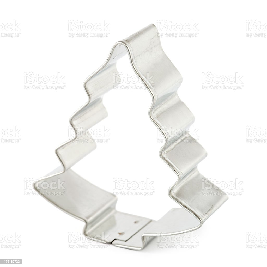 Christmas tree cookie cutter on white stock photo