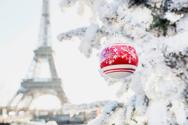 Weihnachtsbaum mit Schnee in der Nähe von Eiffelturm bedeckt – Foto