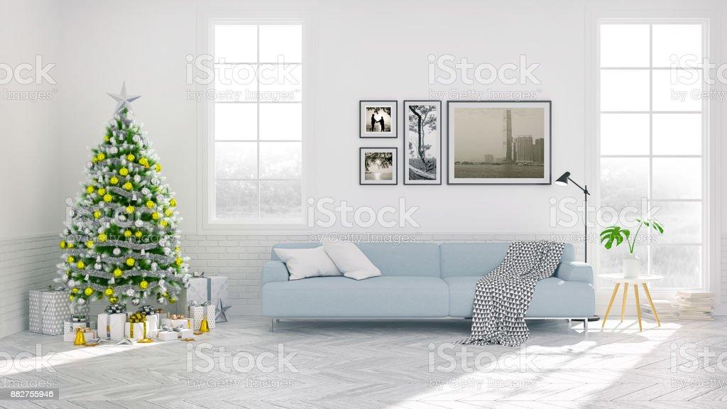 Amazing Christmas Tree Decorate On Scandinavia Of Living Room Blue Inzonedesignstudio Interior Chair Design Inzonedesignstudiocom