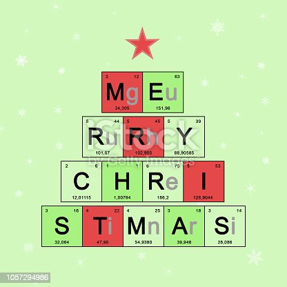 istock Christmas tree decorated elements periodic table, Scientific theme, chemistry - New Year card on light green background with white snowflakes, concept holidays symbol for Merry Christmas 1057294986