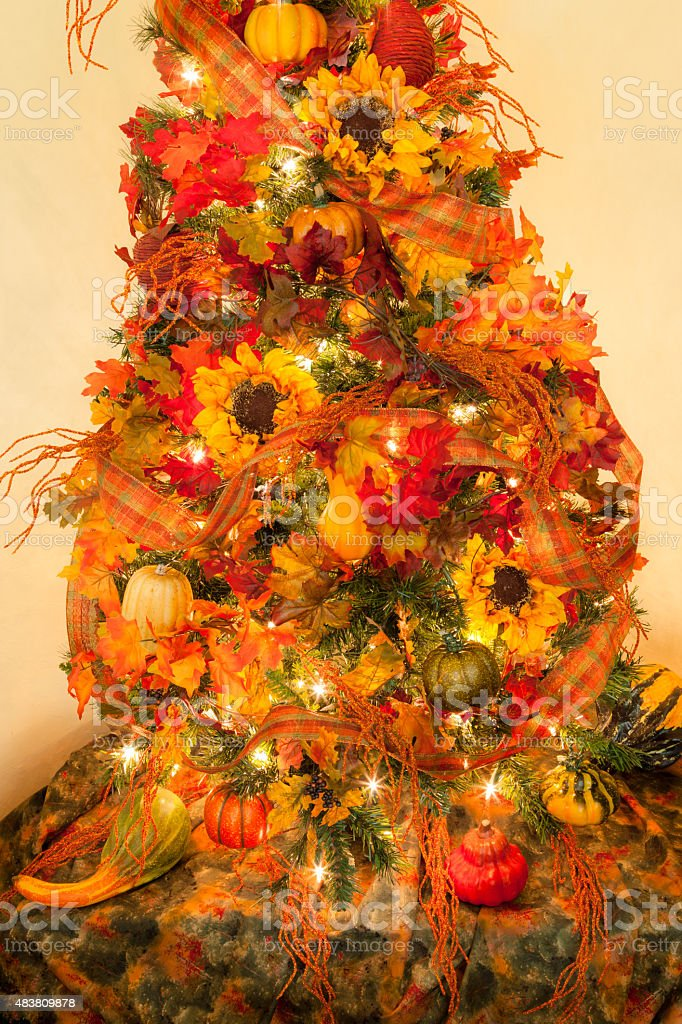 Christmas Tree Decorated In Thanksgiving And Autumn Leaves Sunflowers Stock Photo Download Image Now Istock