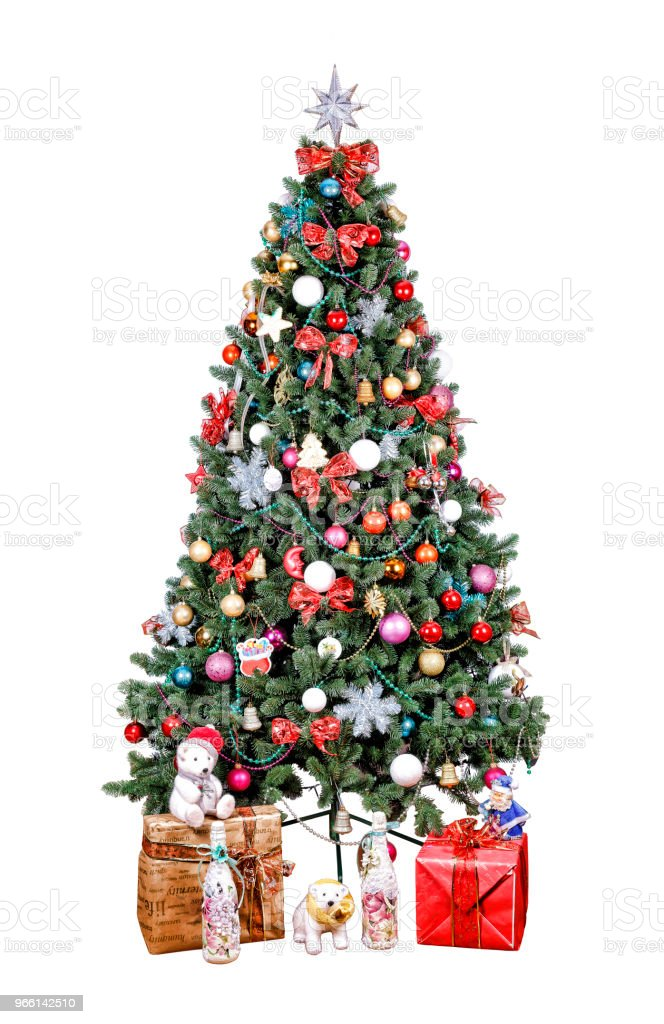 christmas tree, Decorated, multicolored balls, gold patchwork, - Royalty-free Blue Stock Photo