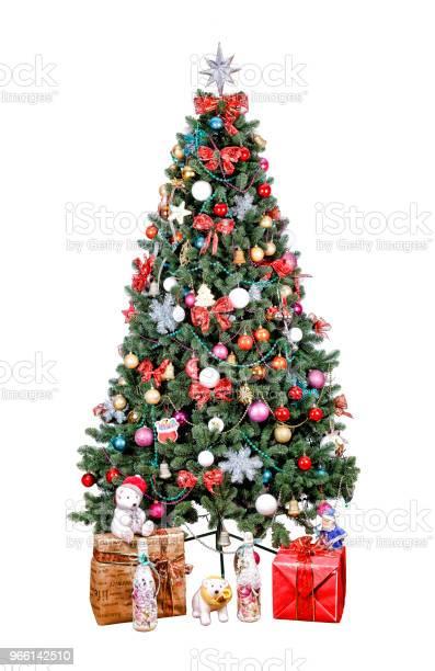 Albero Di Natale Decorato Palle Multicolori Patchwork Doro - Fotografie stock e altre immagini di Albero di natale