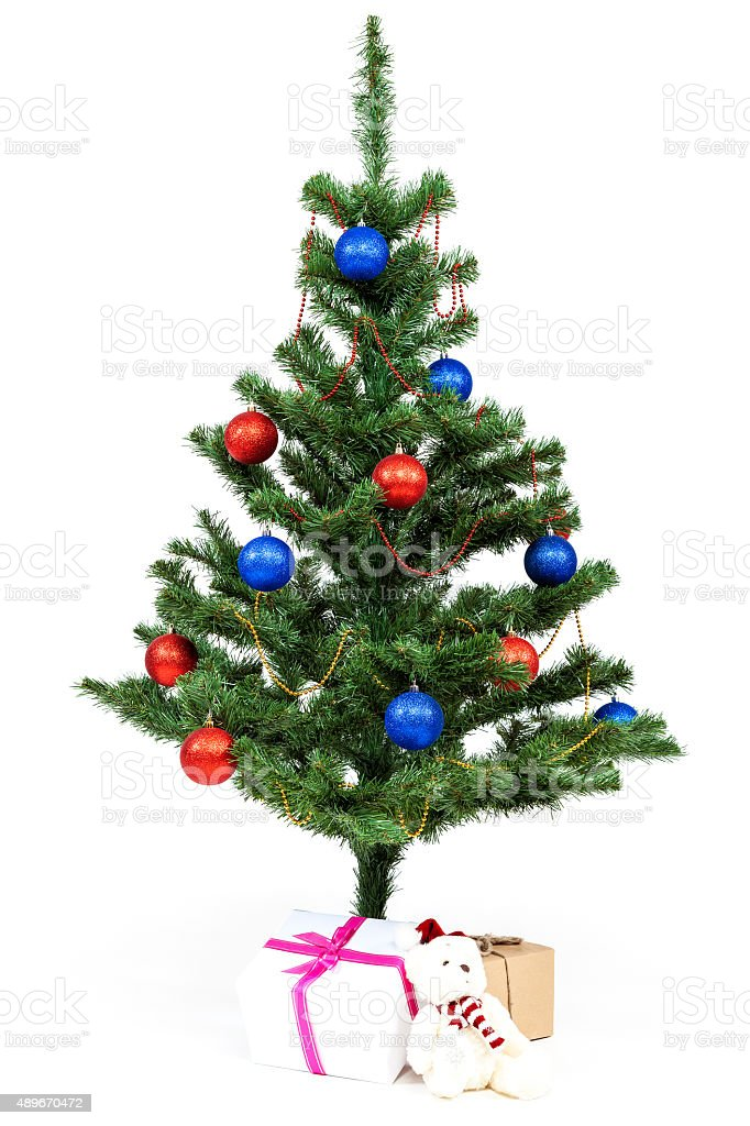 christmas tree decorated red and blue balls on white background royalty free stock photo - Red White And Blue Decorated Christmas Tree