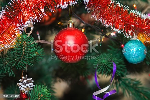 christmas tree decorated with colored balls stock photo more pictures of backgrounds istock