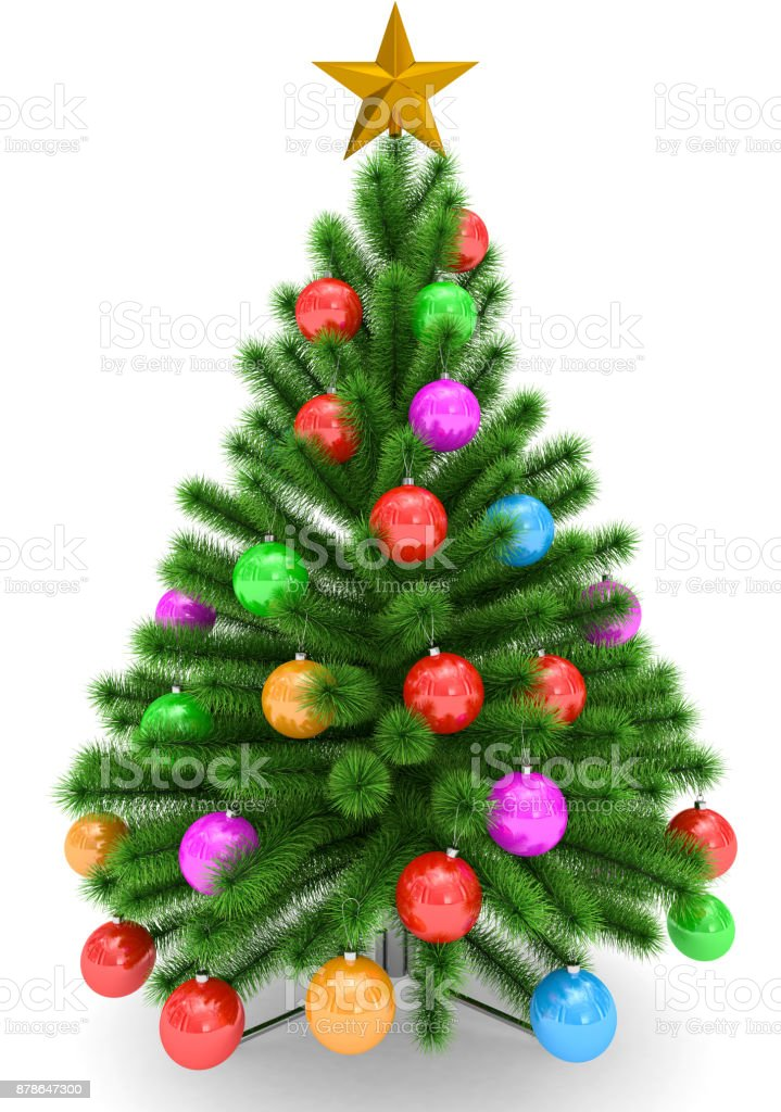Colorful Christmas.Christmas Tree Decorated With Colorful Christmas Balls And Golden Christmas Star Isolated On White Stock Photo More Pictures Of Arrangement