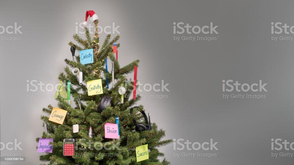 Christmas Business Decorations.Christmas Tree Decorated With Decorations Of Business Items