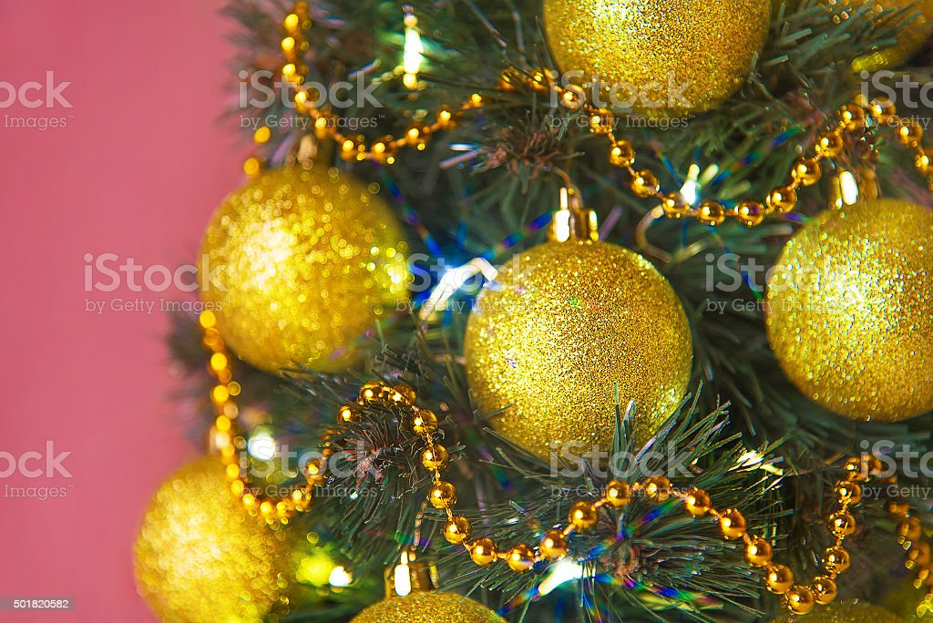 Christmas Tree Decorated With Shining Garlands Golden Balls And