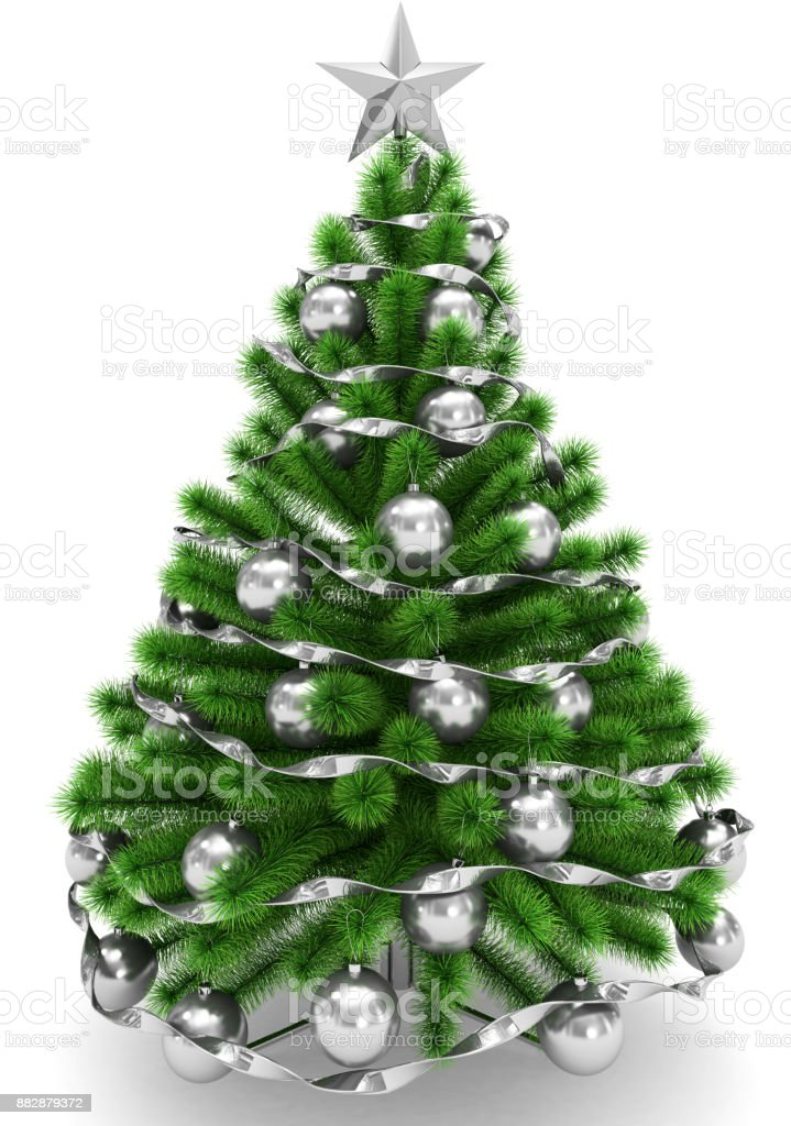 Christmas Tree Decorated With Silver Christmas Balls Silver Christmas Star And Ribbon Isolated On White Stock Photo Download Image Now Istock
