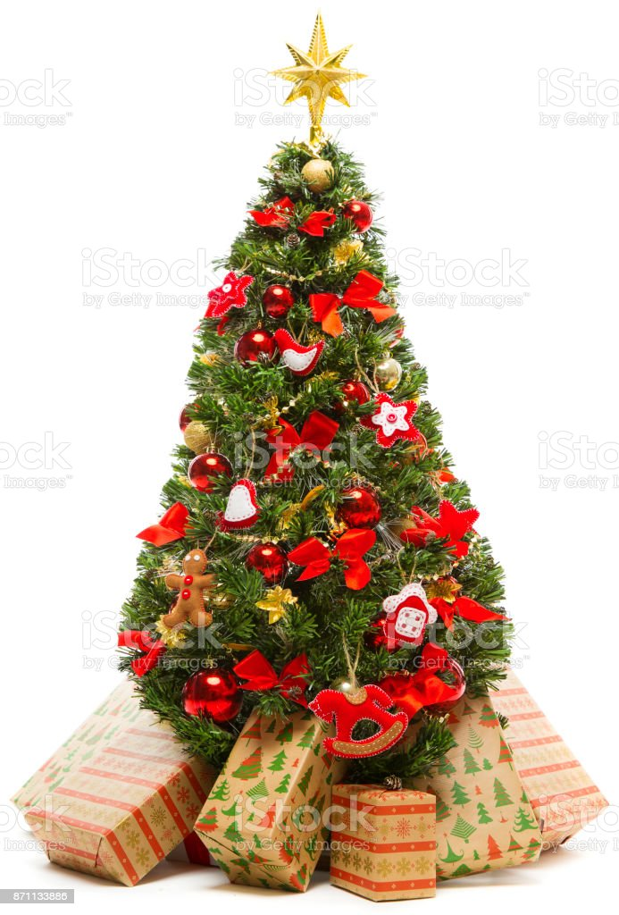 Christmas Tree Decoration And Present Gift Boxes Decorated Xmas Tree White Isolated Stock Photo Download Image Now Istock
