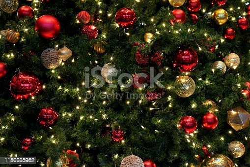 istock Christmas tree decoration as background material 1186665982