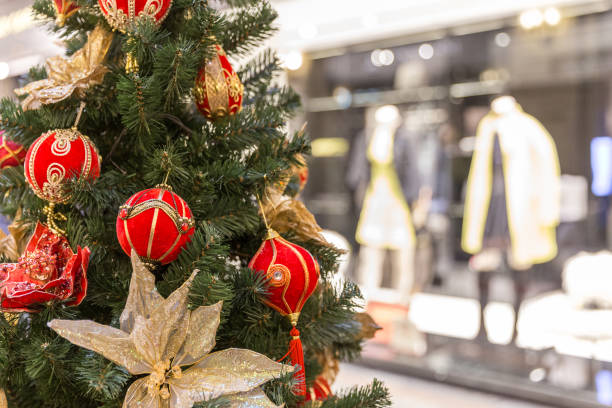 Christmas tree decoration in big shopping mall stock photo