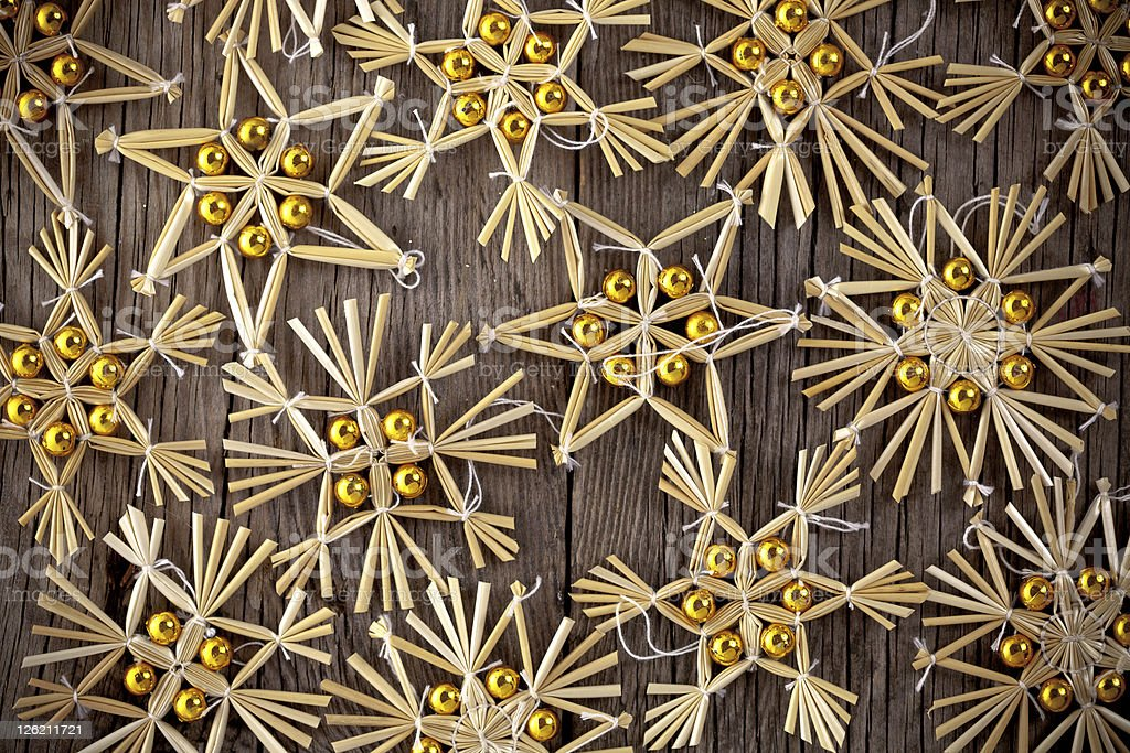 Christmas tree decoration on wood stock photo