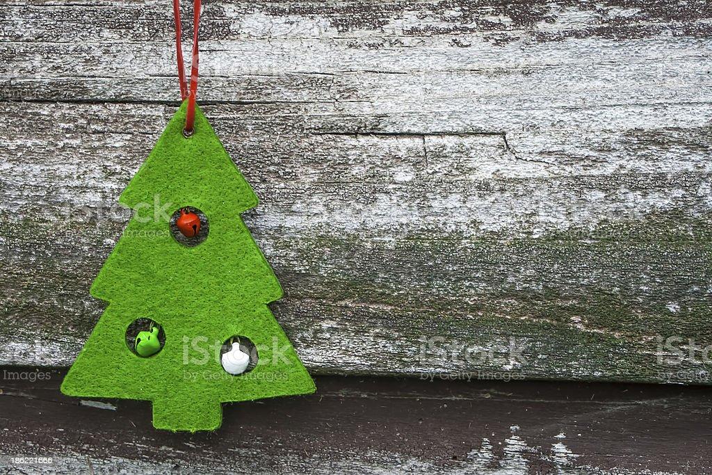 Christmas Tree Decoration on Wood royalty-free stock photo