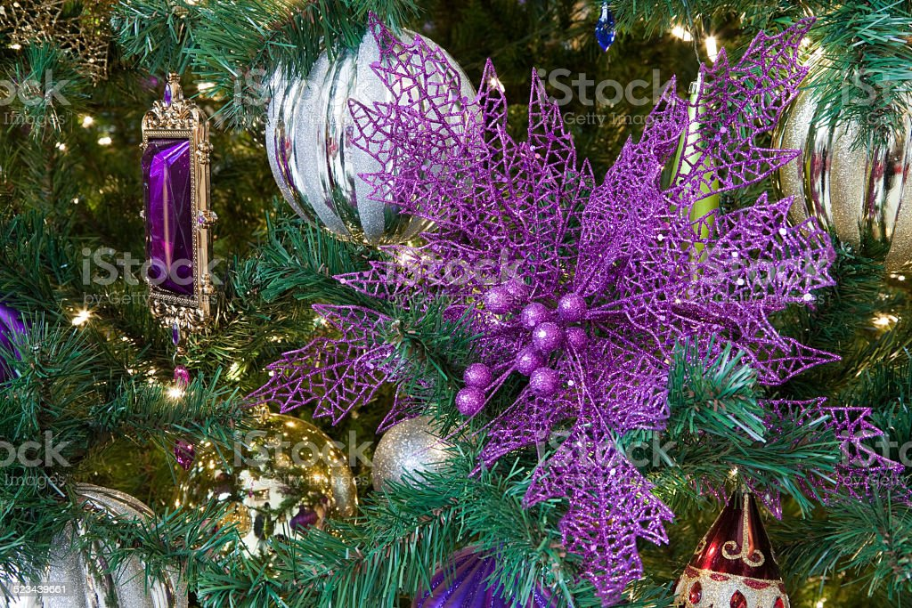 christmas tree decoration ornaments purple gold and shiny royalty free stock photo
