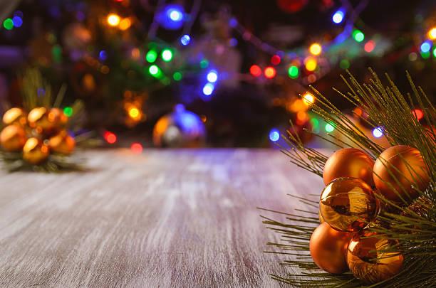 Christmas tree decoration selective focus stock photo