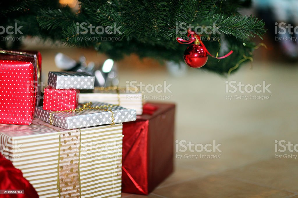Christmas tree decoration toy gifts stock photo