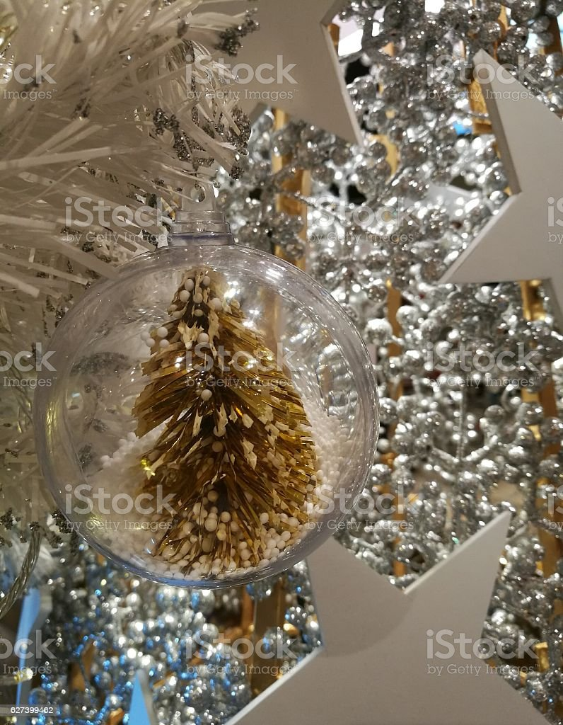 Christmas Tree Decoration White Ornaments Star With Tinsel Background Stock Download Image Now