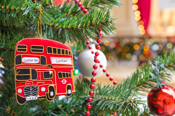 Christmas tree decoration with red double-decker London bus stock photo