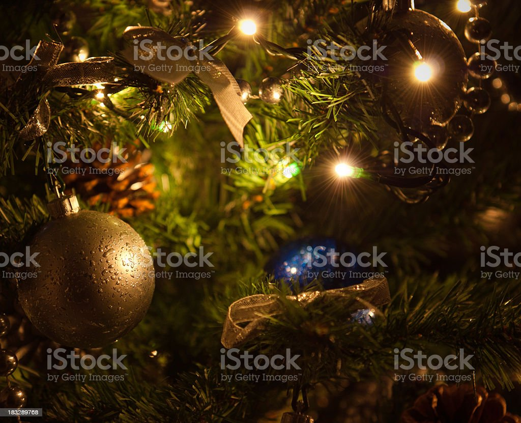 Christmas tree decorations baubles and light royalty-free stock photo