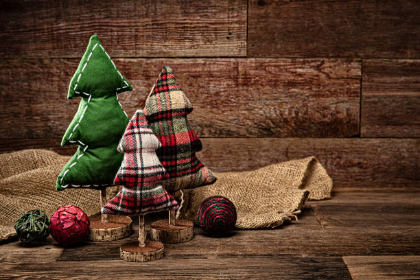 Christmas tree decorations on a retro wood background stock photo
