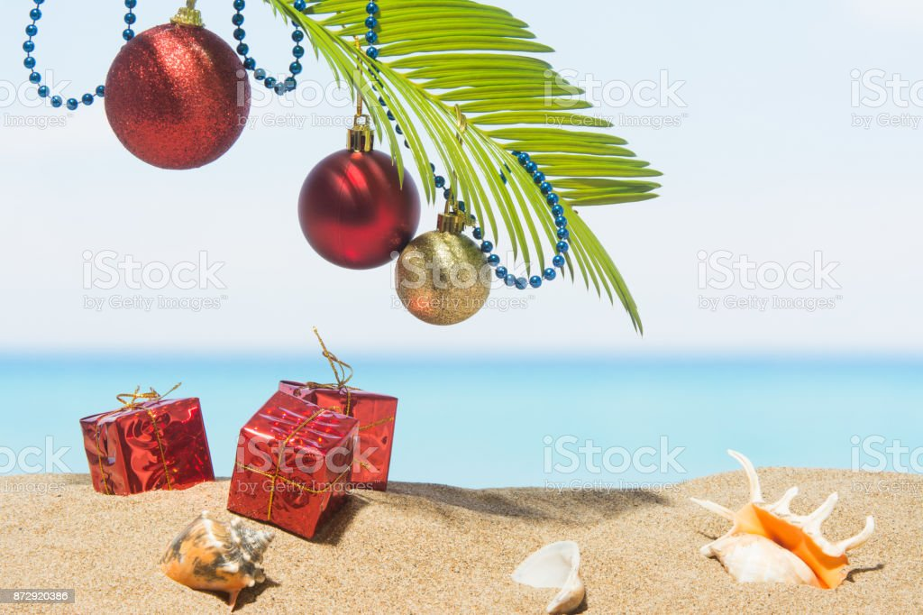 Christmas Tree Decorations On The Beach In Tropical Stock Photo Download Image Now Istock