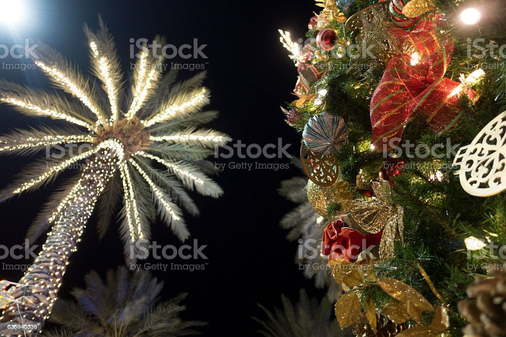 Christmas Tree Decorations With Palm Trees Miami Beach - foto de stock