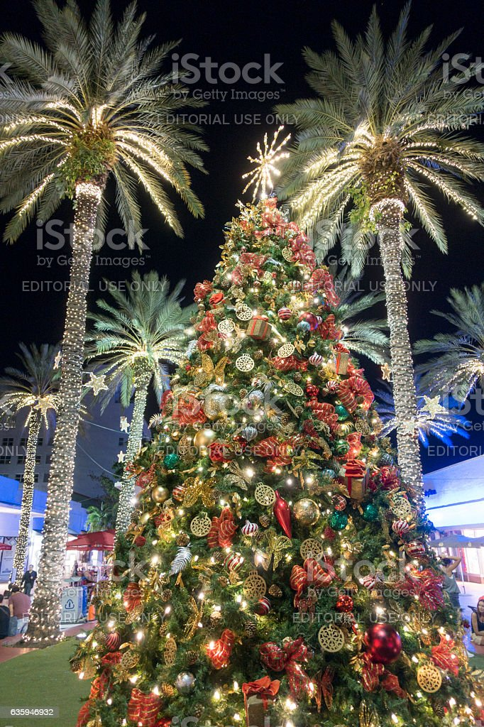 Christmas Tree Decorations With Palm Trees Miami Beach Stockfoto Und