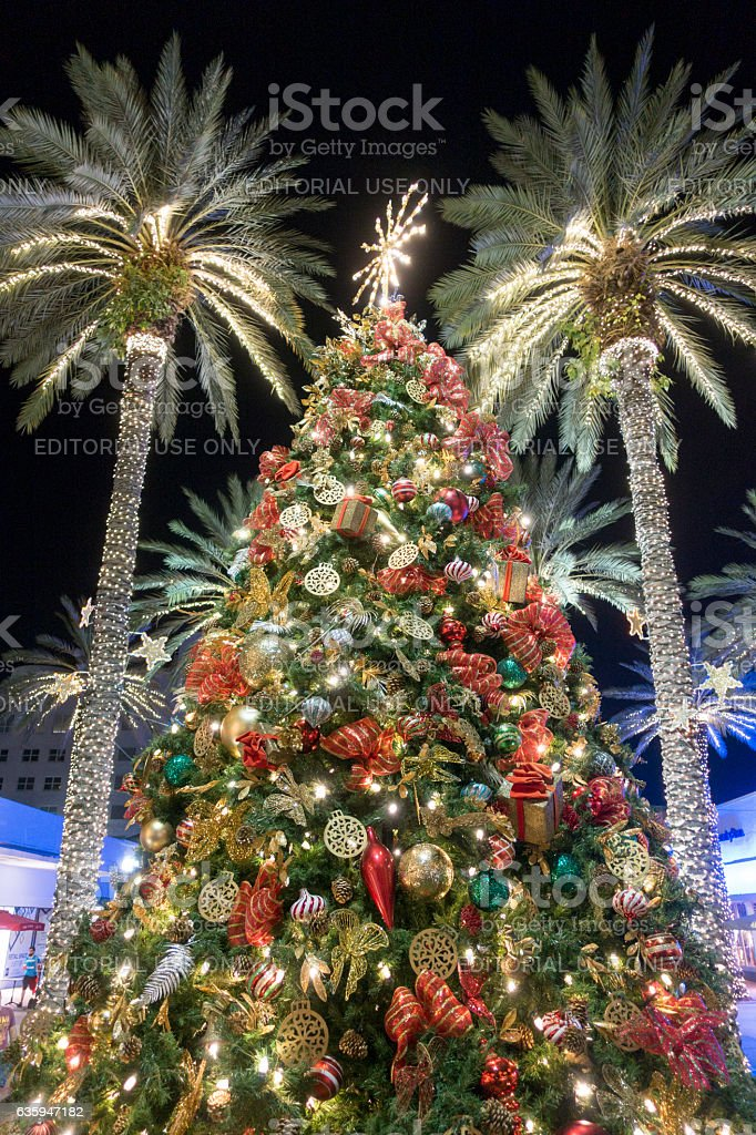 christmas tree decorations with palm trees miami beach royalty free stock photo
