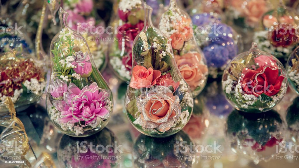 Christmas Tree Decorative Hanging Glass Balls With Flowers In Market Stall Stock Photo Download Image Now