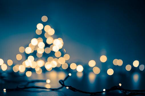 istock Christmas Tree - Defocused Decoration Gold Blue Bokeh 855489820