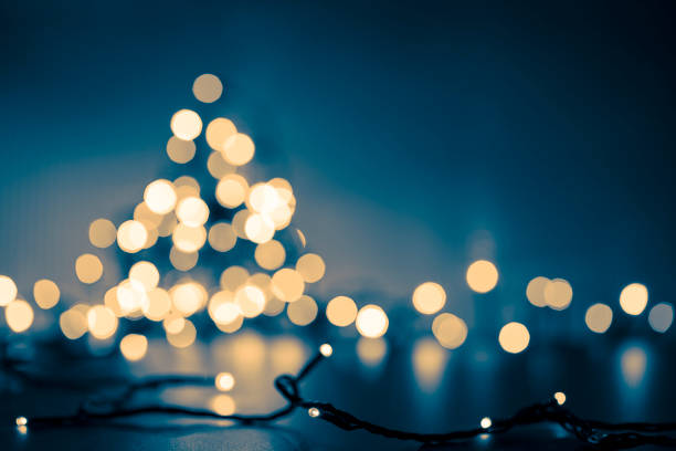 Christmas Tree - Defocused Decoration Gold Blue Bokeh stock photo