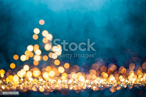 istock Christmas Tree - Defocused Decoration Gold Blue Bokeh 855490038