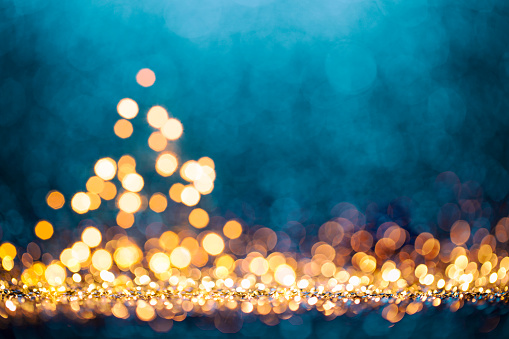 istock Christmas Tree - Defocused Decoration Gold Blue Bokeh 855490038