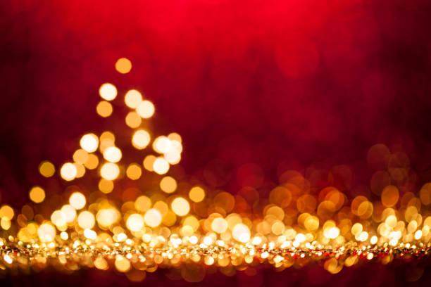 Weihnachtsbaum - Unscharf gestellt Dekoration Gold RedBokeh – Foto