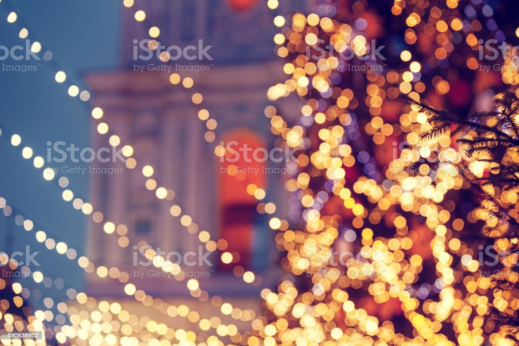 Christmas tree defocused lights stock photo