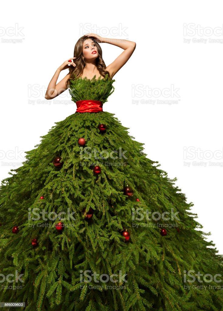 da004ae71f Vestido De Árbol De Navidad Mujer Posando En Vestido De Modelo De ...
