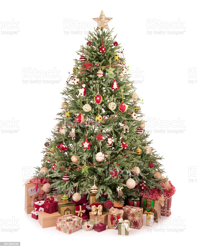 Christmas tree eco friendly ornaments, baubles, decorations and stock photo