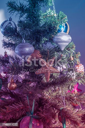 865140324 istock photo Christmas tree festive background. Xmas decor toy balls snowflake cone sequins star snowflake. Vertical 1166511222