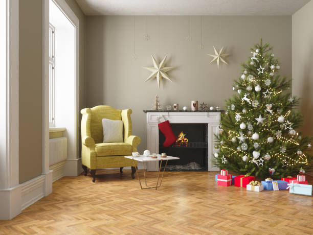 Christmas tree, fireplace and gifts in the Living room Christmas tree, fireplace and gifts in the Living room christmas interior stock pictures, royalty-free photos & images