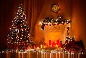 Christmas Tree Fireplace Lights, Decorated Xmas Living Room, Night House Interior Design