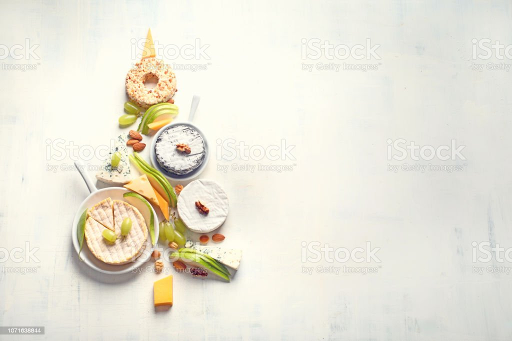 Christmas tree from cheese stock photo