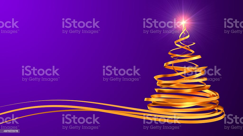 Christmas Tree From Gold Tapes Over Purple Background stock photo