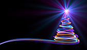 Christmas Tree From Yellow, Blue And Purple Neon Streaks