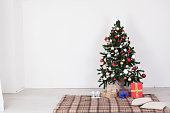 Christmas tree Garland lights new year gifts holiday background decor home