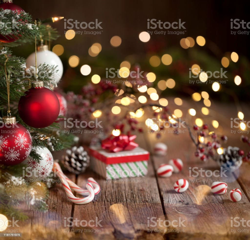 Christmas Tree Gift And Candy Cane Background Stock Photo Download Image Now Istock