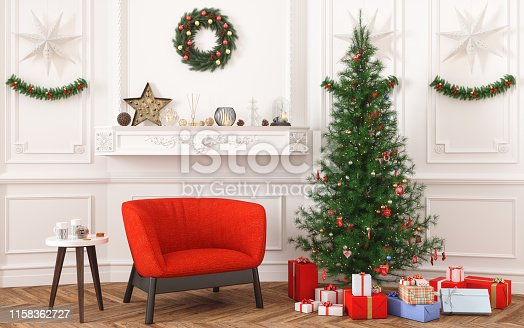 Christmas tree, gifts and armchair