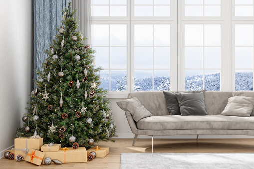Christmas Tree, Gifts And Sofa With a View Of Snow
