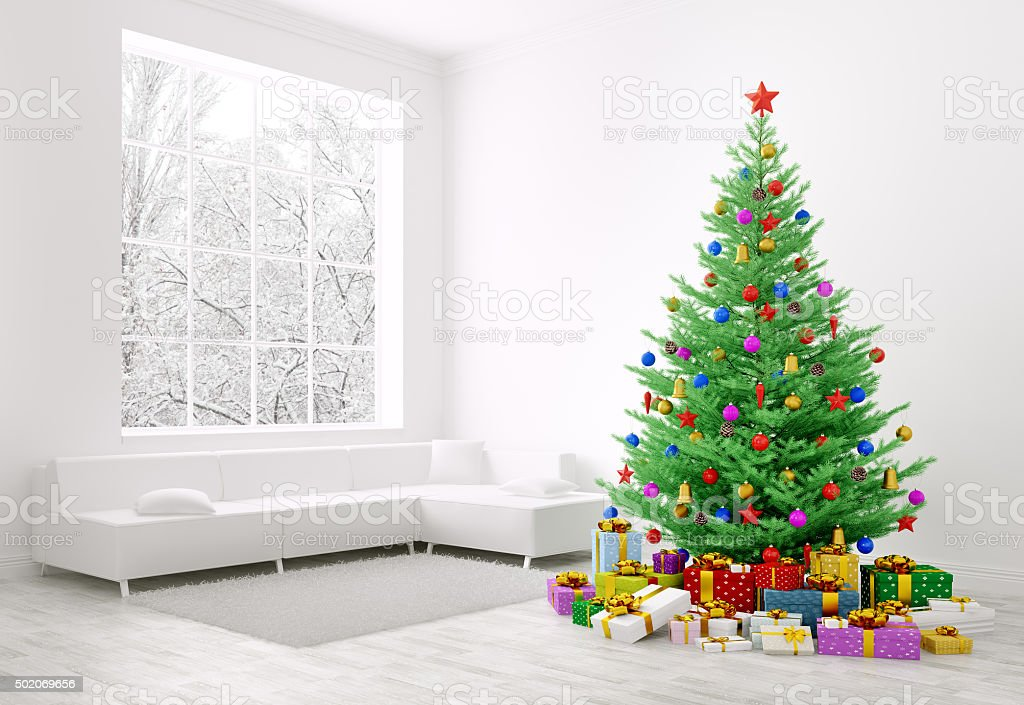 Christmas tree, gifts in a room 3d rendering stock photo
