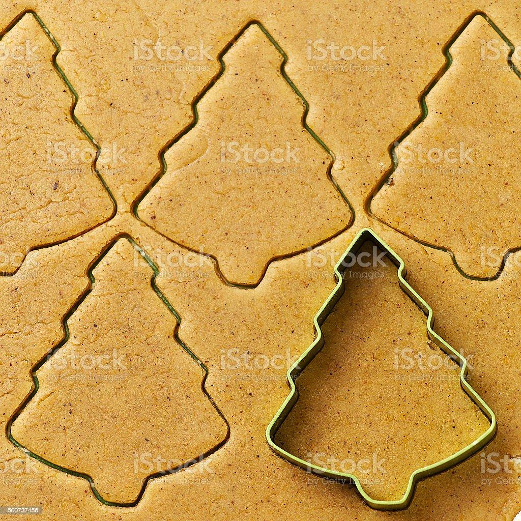 Christmas tree gingerbread cookies stock photo